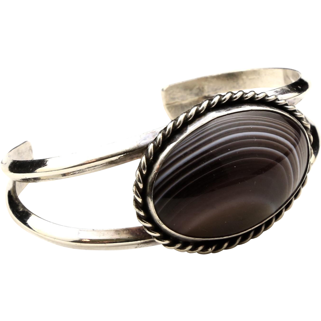Vintage Sterling Silver Banded Agate Cuff Bracelet Brown White Stone