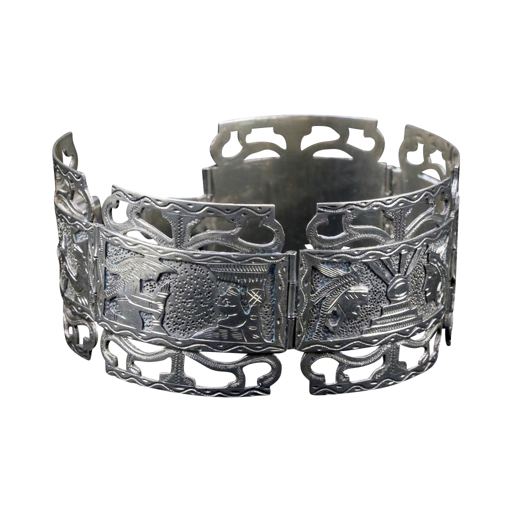 Vintage Sterling Silver Storyteller Picture Panel Bracelet Inca Aztec Mexico