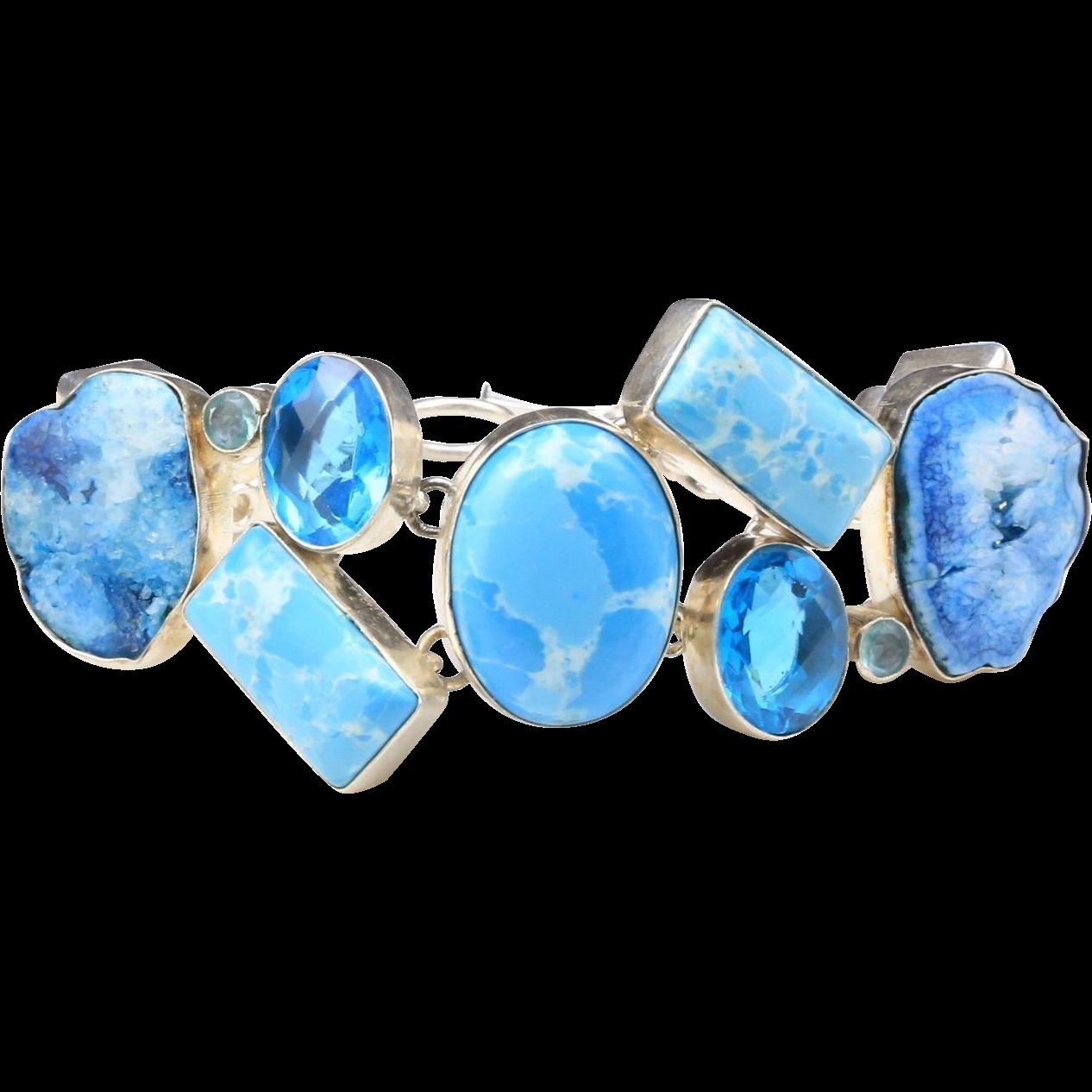 Sterling Silver Multi-Stone Quartz Crystal Turquoise Agate Rhinestone Bracelet