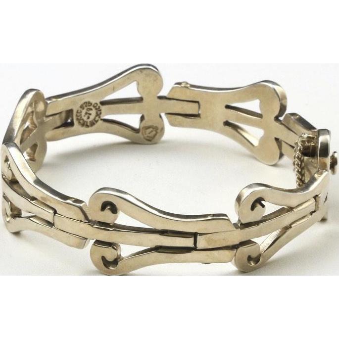 Vintage Taxco Mexico Sterling Silver Bracelet Link Hinged Artisan Signed