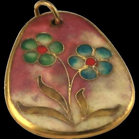 Vintage Gold-Tone & Enamel Flower Pendant Boho Beautiful
