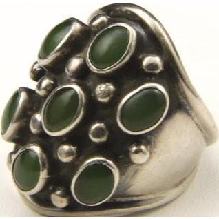 Vintage Large Sterling Silver & Jade Seven Stone Ring Sz