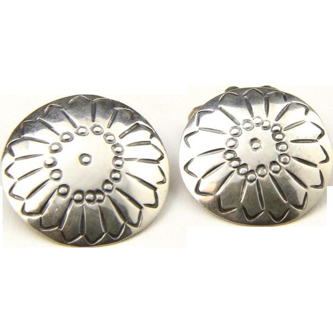 Vintage Sterling Silver Navajo Cufflinks Large Round Stamped Southwestern