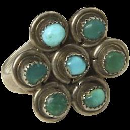 Vintage Navajo Sterling Silver & Blue Green Turquoise Flower Cluster Ring Sz 6