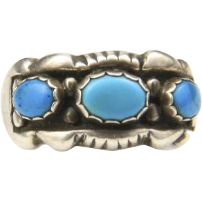 Vintage Sterling SIlver Turquoise 3 Stone Ring Mens Southwestern Signed Sz 11.5