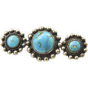 Vintage Sterling Silver & 3 Turquoise Stone Bar Pin Brooch Southwestern Artisan
