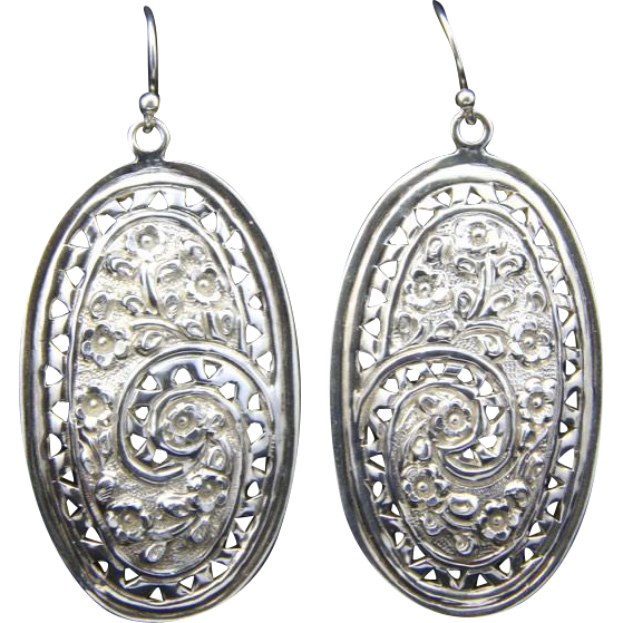 Vintage Ornate Sterling Silver Large Oval Dangle Earrings Hook Pierced Signed
