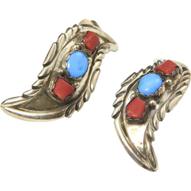 Vintage Navajo Sterling Silver Turquoise Coral Clip Earrings Feather Leaf Signed