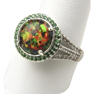 Vintage Sterling Silver Black Opal Cubic Zirconia Ring Raised Halo Setting 10.25