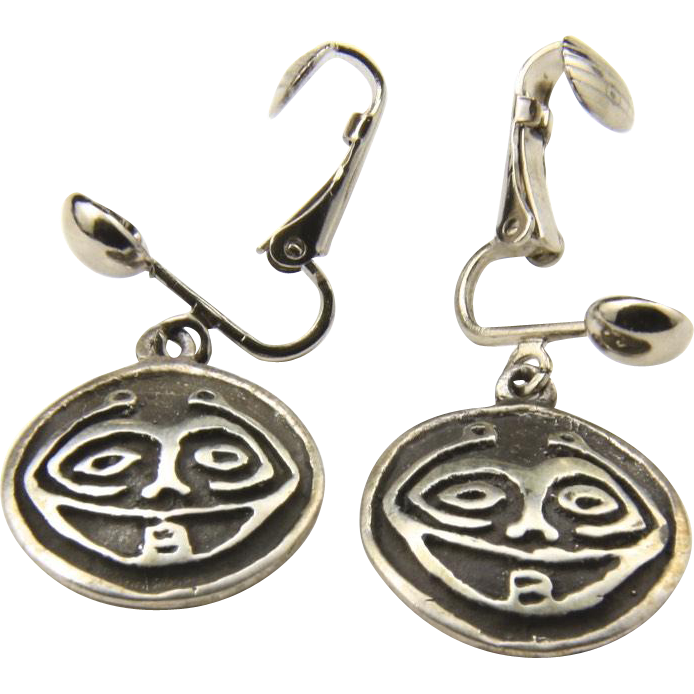 Vintage Sterling Silver Tribal Face Dangle Earrings Circle Round Laughing Funny