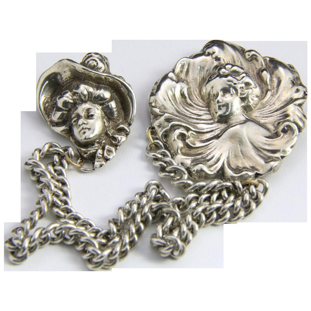 Vintage Silver Chatelaine Art Nouveau Women Face Brooch Pin / Double Chain