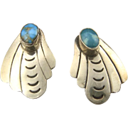 Vintage Navajo Sterling Silver & Turquoise Clip On Earrings Blue Green Stone