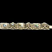 Vintage Taxco Sterling Silver & Abalone Carved Mask Link Bracelet Mexico Signed