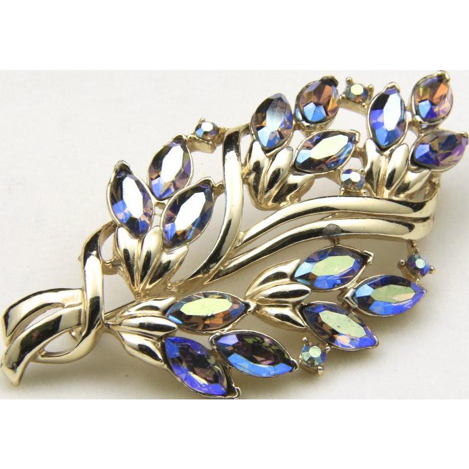 Vintage 1960s Aurora Borealis Rhinestone Leaf Tree Brooch Retro Costume Jewelry