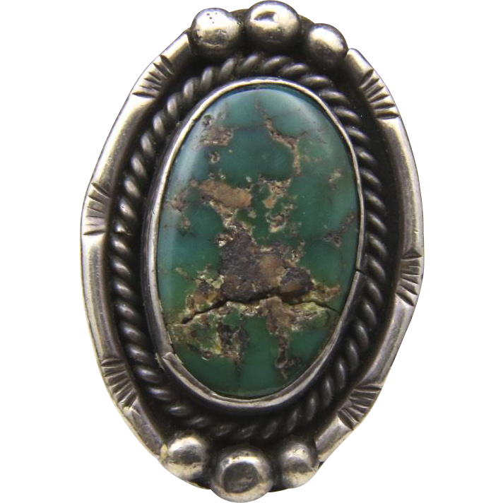 Vintage Navajo Sterling SIlver & Green Turquoise Large Oval Ring Sz 5 Artisan