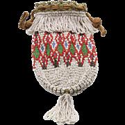 Vintage Southwestern Deco Micro Bead Purse Evening Bag Crochet Pouch Drawstring