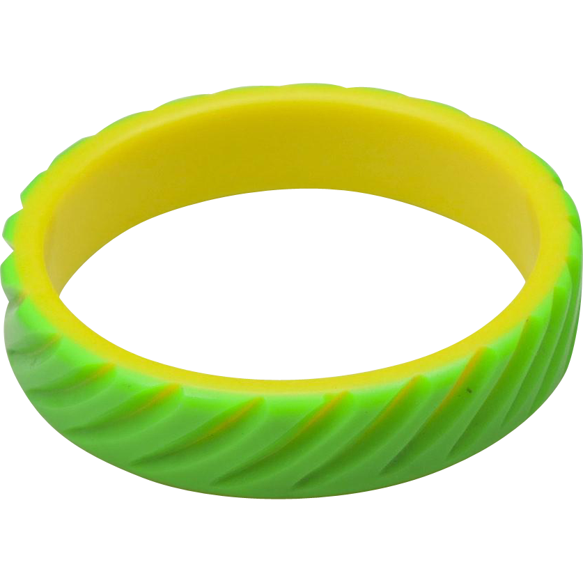 Vintage Carved Plastic Lucite Bangle Bracelet Neon Green & Yellow Retro Mod