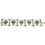 Vintage Taxco Mexico Silver & Turquoise Glass Bead Bubble Link Bracelet