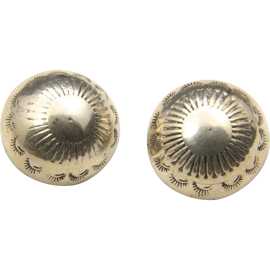 Vintage Navajo Button Dome Earrings Stamped Sterling Silver Clip On Southwestern