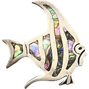 Vintage Taxco Sterling Silver Abalone Fish Brooch Artisan Eagle Hallmark