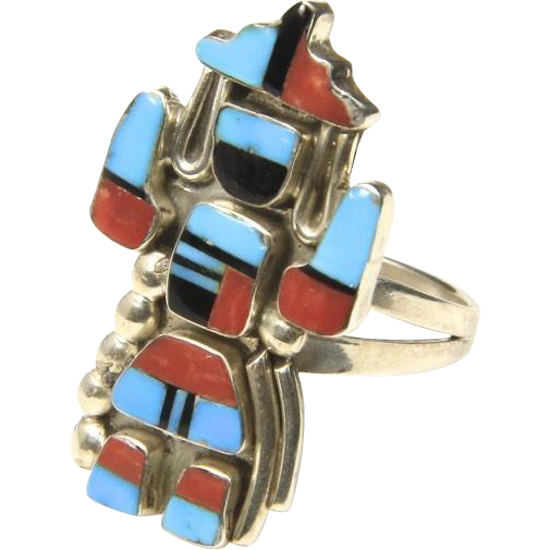 Vintage Kachina Ring Sterling Silver Turquoise Onyx Coral Sz 6 Left