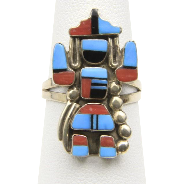 Vintage Kachina Ring Sterling Silver Turquoise Coral Onyx Sz 7 Right