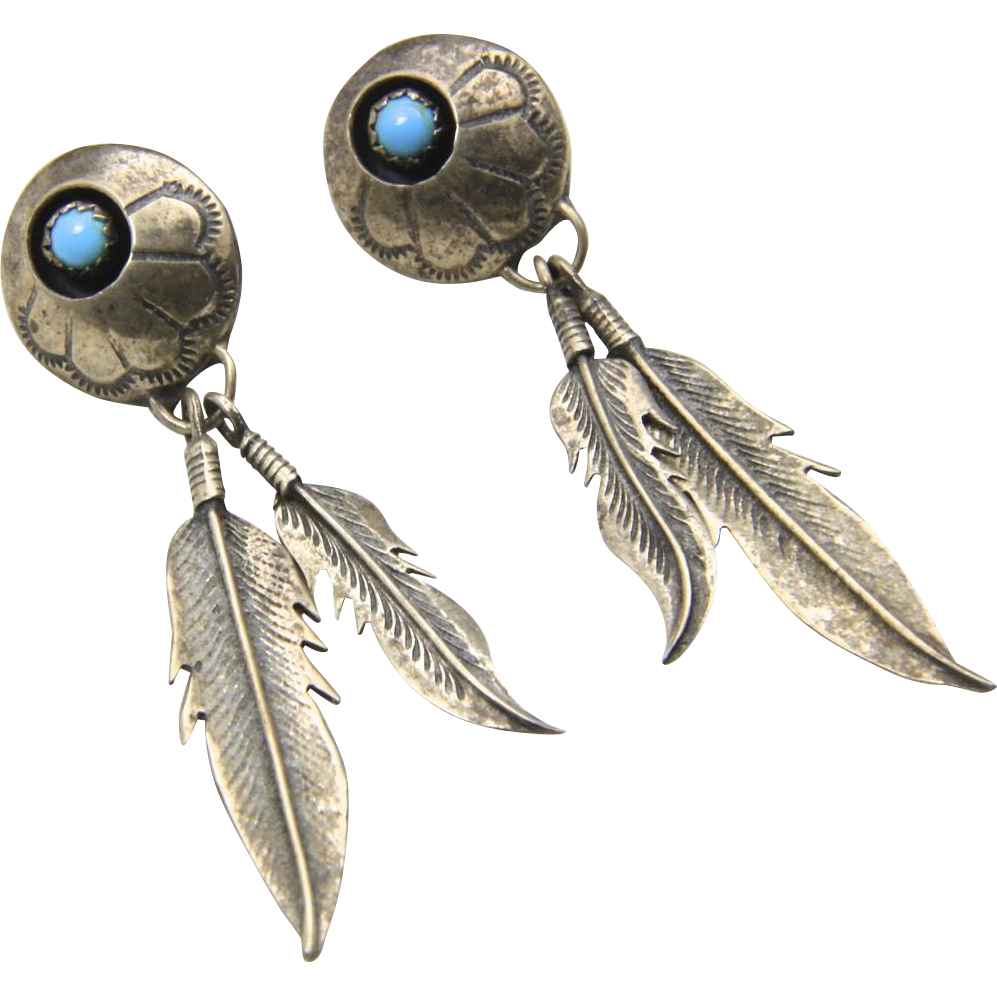 Vintage Sterling Silver & Turquoise Feather Shadow Box Dangle Earrings Post Back