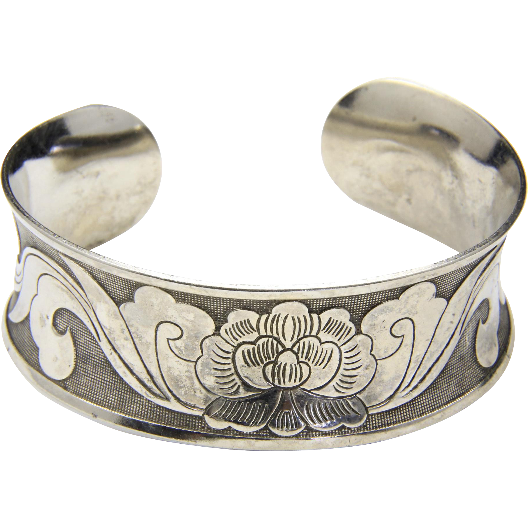 Vintage Sterling Silver Chinese Scroll Work Lotus Cuff Bracelet
