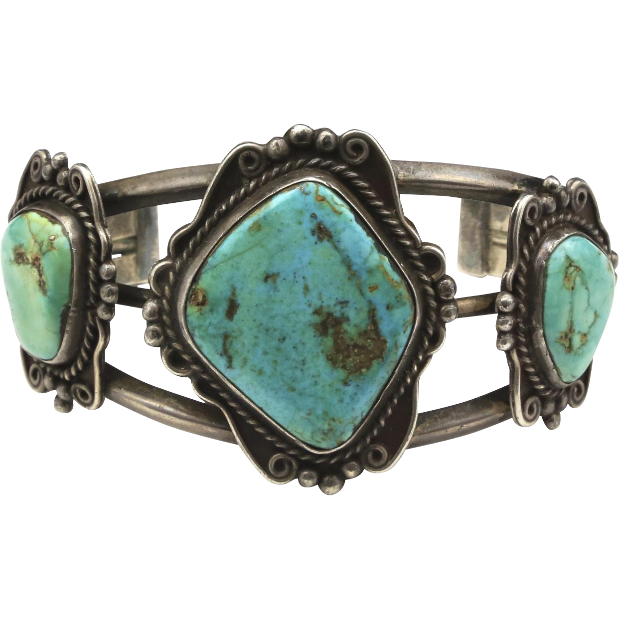 Vintage Triple Stone Turquoise and Sterling Silver Cuff Bracelet Aqua