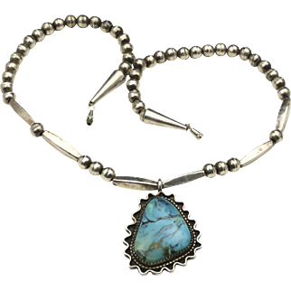 Vintage Turquoise & Sterling Silver Pendant Necklace Bench Beads Southwestern