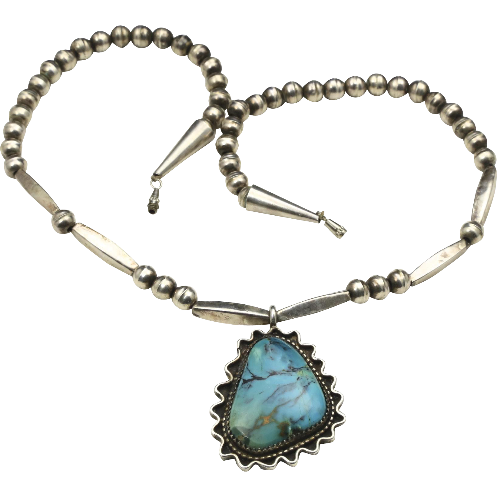 vintage turquoise sterling silver pendant necklace bench