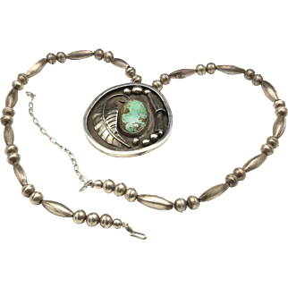 Vintage Large Sterling Silver & Turquoise Bench Bead Shadow Box Pendant Necklace