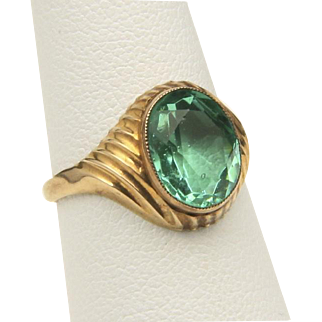 Vintage 10k Yellow Gold and Green Gemstone Ring Retro Jewelry