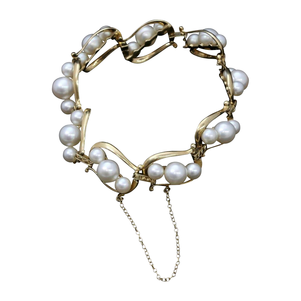 Authentic Vintage Mikimoto Pearl Bracelet 14K Yellow Gold 5mm 7mm Cultured A+ Pearls