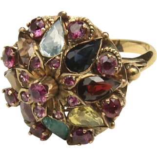 Vintage 14k Yellow Gold & Multiple Gemstone Flower Ring Sz 4.5 Ruby Emerald Plus