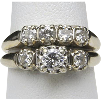 Vintage 14k White Gold & Diamond Wedding Ring Band Set Size 6.75