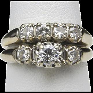 Vintage 14k White Gold & Diamond Wedding Ring Band Set Size 6.75