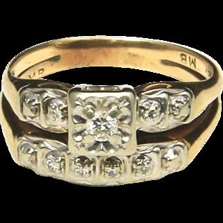 Vintage 14k Yellow Gold & Diamond Wedding Ring Band Set .25 TCW Size 6.25