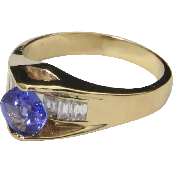 Vintage 10k Yellow Gold & Tanzanite Ring White Topaz Baguette Stones Sz 8