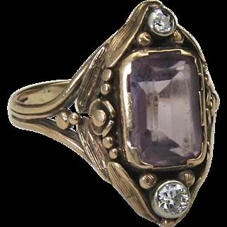 Vintage Antique Nouveau 10k Yellow Gold Amethyst & Diamond Ring Sz 7.75