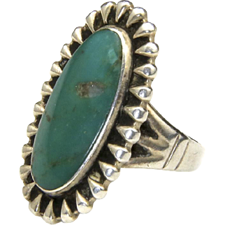 Vintage Old Early Green Turquoise Ring Sterling Silver Sz 4.25 Southwestern