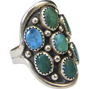 Vintage Multi Stone Green & Blue Turquoise Ring Sterling Silver Sz 9 Large Face