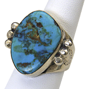 Vintage Large Stone Turquoise Ring Sterling Silver Mens Unisex Sz 9 Southwestern
