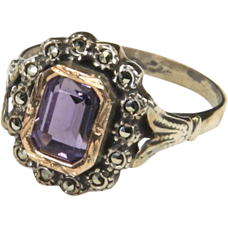 Vintage Amethyst and Marcasite Sterling & Rose Gold Ring Sz 7.25