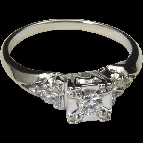 Vintage Estate 14k White Gold Diamond Engagement Ring Sz 5 .20 Carats