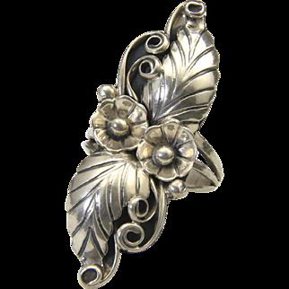Vintage Long Navajo Sterling Silver Leaf & Flower Ring Sz 8.5 Native American