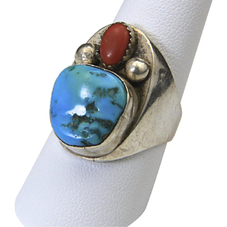 Vintage Sterling Silver Turquoise & Coral Large Face Ring Mens Unisex Sz 9.25