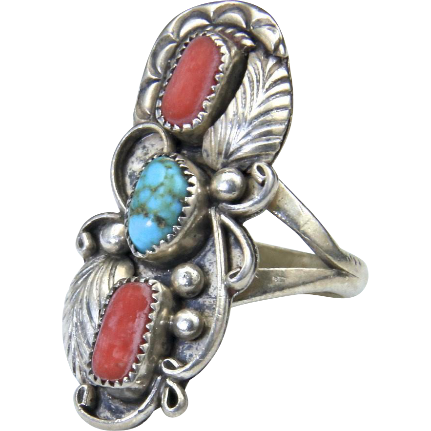 Vintage Navajo Three Stone Coral & Turquoise Sterling Ring Sz 5 Signed Thomas