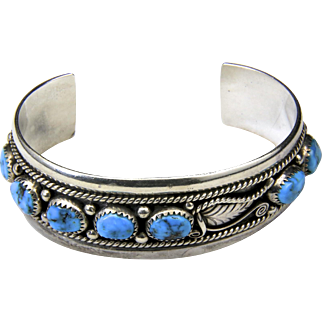 Vintage Heavy Sterling Silver & Multiple Turquoise Stone Cuff Bracelet Artisan