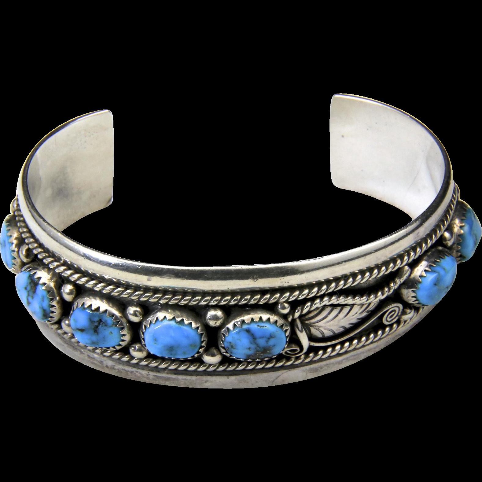 Vintage Heavy Sterling Silver & Multiple Turquoise Stone Cuff Bracelet Artisan